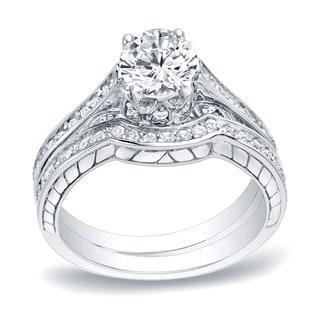 Auriya Platinum 1ct TDW Round Cut Diamond Curved Band Bridal Ring Set (H-I, SI1-SI2)