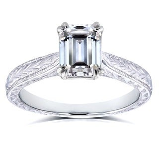 Annello by Kobelli 14k White Gold 1 3/4ct Emerald Moissanite (HI) and Diamond Accent Antique Cathedral Engagement Ring