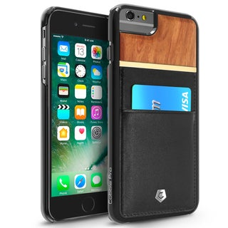 CobblePro Black/ Brown Leather Bamboo wood Case Cover with Wallet Flap Pouch For Apple iPhone 6 Plus/ 6s Plus