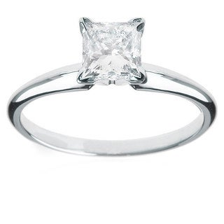 Montebello Jewelry 14k White Gold 1 1/4ct TDW Princess-cut Solitaire White Diamond Engagement Ring (H-I, SI2)