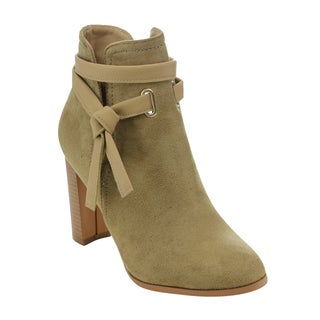 Athena Women's Ankle Strap Side Slit High Stacked Heel Ankle Booties