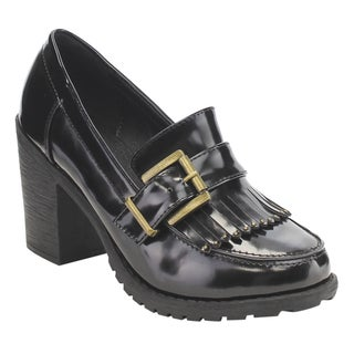 C Label Women's AE40 Faux-patent Leather Fringe, Buckled, and Strappy Slip-on Block-heel Preppy Pumps