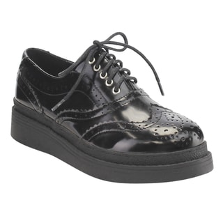 C Label Women's AE43 Faux Leather Lace-up Perforated Wingtip Brogue Platform Wedge Oxfords