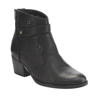 C Label Women's Faux Leather Rear-zipper Perforated Block Heel Ankle Booties