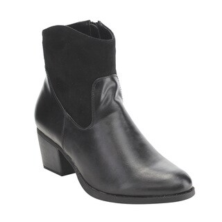 C Label Women's Black Faux Leather Inside Zipper Block Heel Booties