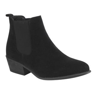 Beston DE03 Women Chelsea Style Plain Pull-on Ankle Booties Half Size Small (Option: 9)