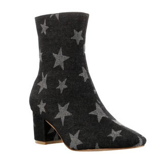 CAPE ROBBIN FF16 Women's Distressed Star Print Mid-high Block Heel Ankle Booties