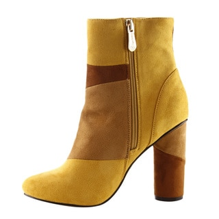 CAPE ROBBIN FF12 Women's Patchwork Chunky Round Heel Ankle Boots Half Size Small