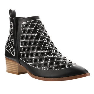 Cape Robbin FF11 Women's Faux-leather Slip-on Cut-out Stacked Block-heel Ankle Booties