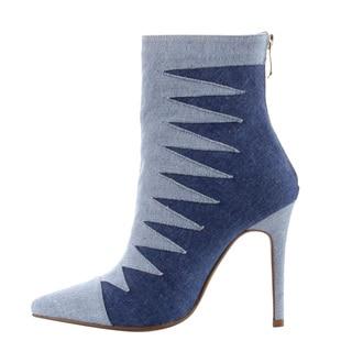 Cape Robbin Women's Two Tone Denim High Stiletto Heel Ankle Booties