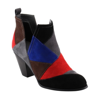 Nature Breeze FF46 Women's Faux Suede Slip-on Patchwork Chunky Block Heel Ankle Booties