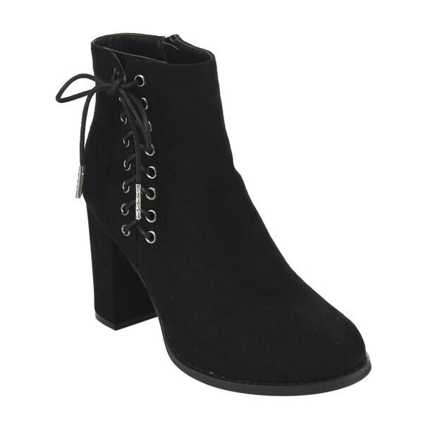 EE03 Women's Side Lace Up Zipper High Block Heel Ankle Bootie