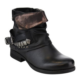 Via Pinky Women's Fold-over Slouchy Buckled Strap Studs Ankle Booties