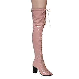 Cape Robbin Women's Ghilly Pink Faux Leather Lace-up Over-the-knee Block-heel Boots