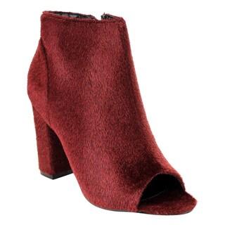 Cape Robbin FE95 Women's Hairy Ankle-high Chunky Block Heel Booties