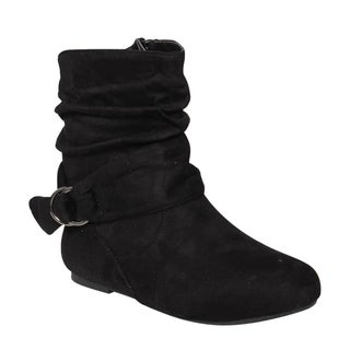 Da Viccino ED65 Women's Buckle Slouchy Flat Ankle Booties Half Size Small (Option: 9)