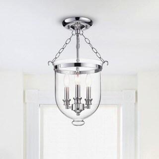 Yamila Chrome Glass Lantern Flush Mount Chandelier