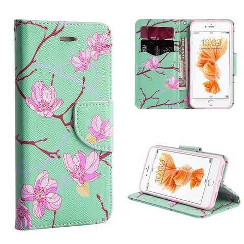 Insten Green/Pink Japanese Blossom Leather Case Cover Lanyard with Stand/Wallet Flap Pouch For Apple iPhone 7 Plus