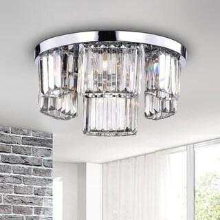 Esperanza Chrome 6-light Glass Prism Round Flush Mount Chandelier