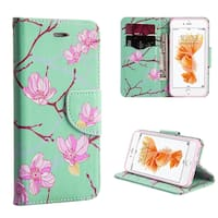 Insten Green/ Pink Japanese Blossom Leather Case Lanyard with Stand/ Wallet Flap Pouch for Apple iPhone 7/ 8