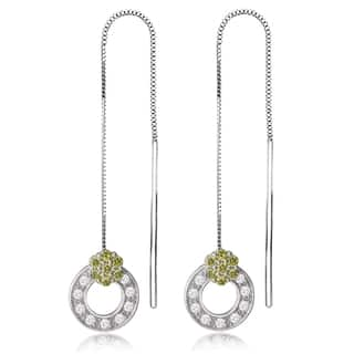 Avanti 14K White Gold Green and White Cubic Zirconia Threader Earrings|https://ak1.ostkcdn.com/images/products/13187141/P19909129.jpg?impolicy=medium
