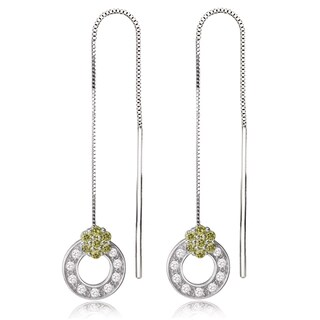 Avanti 14K White Gold Green and White Cubic Zirconia Threader Earrings