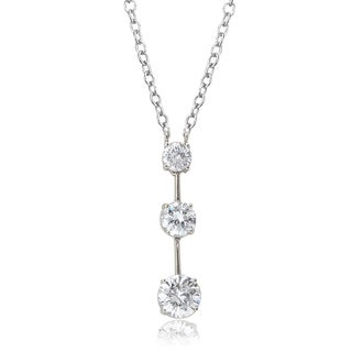 Avanti 14K White Gold 2 1/3 CT TGW Round Cubic Zirconia Graduated Three Stone Necklace
