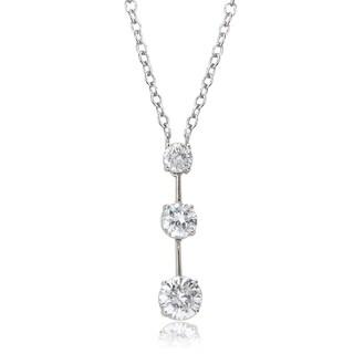Avanti 14K White Gold 2 1/3 CT TGW Round Cubic Zirconia Graduated Three Stone Necklace