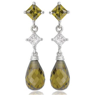 Avanti 14K White Gold Green and White Cubic Zirconia Dangle Earrings|https://ak1.ostkcdn.com/images/products/13187151/P19909130.jpg?impolicy=medium