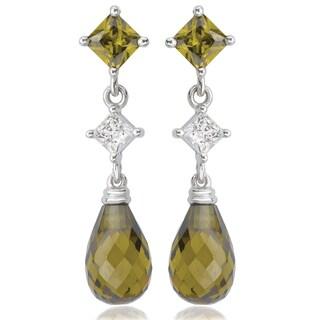 Avanti 14K White Gold Green and White Cubic Zirconia Dangle Earrings
