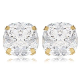 Avanti 14K Yellow Gold 2 CT TGW Cushion Cut Cubic Zirconia Basket Set Sud Earrings