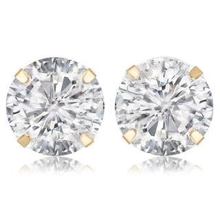 Avanti 14K Yellow Gold 4 CT TGW Round Brilliant Cut Cubic Zirconia Stud Earrings