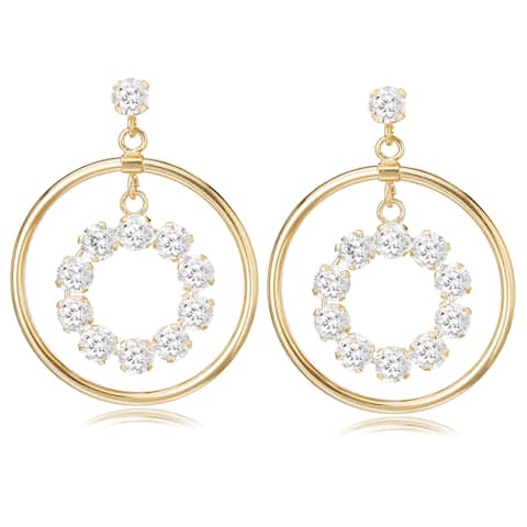 Avanti 14K Yellow Gold Cubic Zirconia Circular Dangle Earrings