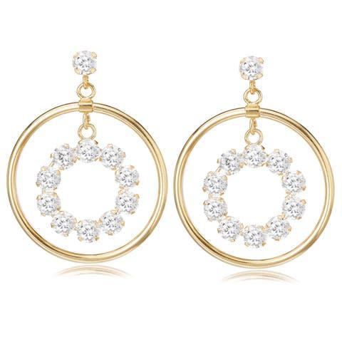 Avanti 14K Yellow Gold Cubic Zirconia Circular Dangle Earrings