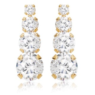 Avanti 14K Yellow Gold Cubic Zirconia Journey Earrings
