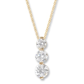 Avanti 14K Yellow Gold Round Cubic Zirconia Channel Set Three Stone Pendant Necklace