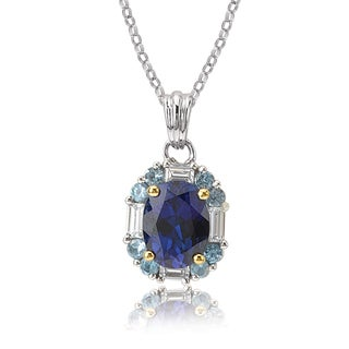 Avanti 14K Two Tone Gold Blue and White Cubic Zirconia Pendant Necklace