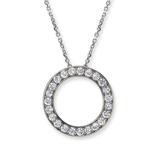 Avanti 14K White Gold 3/4 CT TGW Cubic Zirconia Circle Pendant Necklace