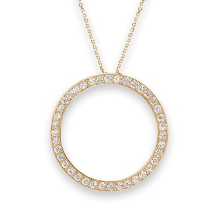 Avanti 14K Yellow Gold Cubic Zirconia Circle Pendant Necklace