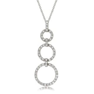 Avanti 14K White Gold Cubic Zirconia Triple Circle Pendant Necklace