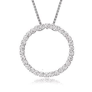 Avanti 14K White Gold Cubic Zirconia Circle of Life Pendant Necklace