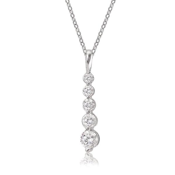 Avanti 14k white gold round cubic zirconia journey pendant necklace avanti 14k white gold round cubic zirconia journey pendant necklace aloadofball Images