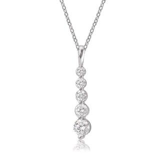 Avanti 14K White Gold Round Cubic Zirconia Journey Pendant Necklace