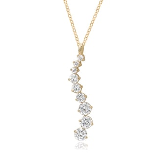 Avanti 14K Yellow Gold Cubic Zirconia Curved Journey Pendant Necklace