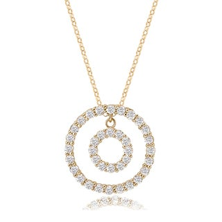 Avanti 14K Yellow Gold Cubic Zirconia Doulbe Circle Pendant Necklace