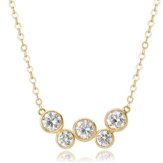 Avanti 14K Yellow Gold Cubic Zirconia Five Round Bezel Set Pendant Necklace