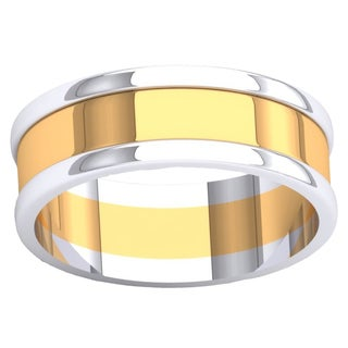 14-karat White and Yellow Gold Two-tone Polished Shiny Comfort-fit Men's Wedding Band