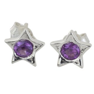Handmade Sterling Silver 'Bright Star' Amethyst Earrings (India)