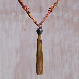 Handmade Cotton Suede 'Surabhi Trail' Necklace (Indonesia)