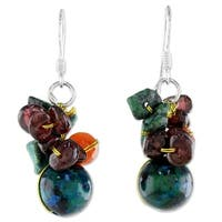 Handmade Sterling Silver 'Tropical Oasis' Garnet Carnelian Dangle Earrings (Thailand)